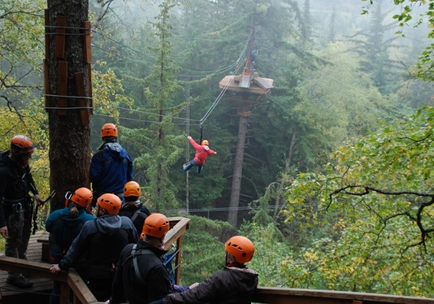 Six Zip-lines through the tree-tops outside of Skagway